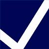 Logo: weißer Haken mit blauem Hintergrund